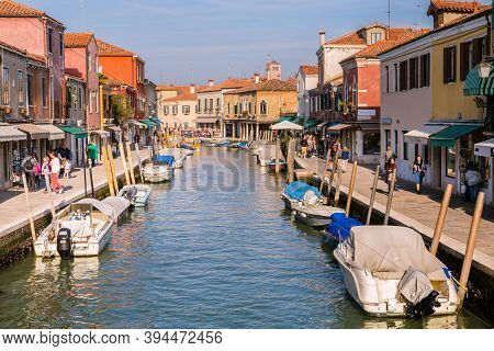 Murano Venice, Italy - October 29, 2016: View Of The Central Canal On Murano Island In Venice Italy.
