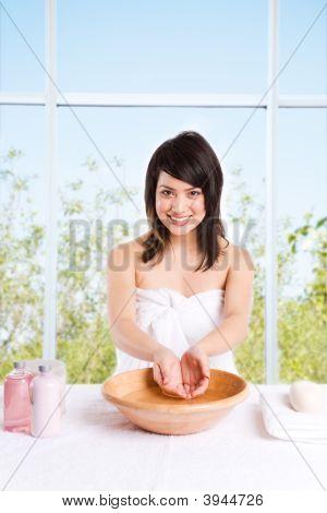 Beautiful Asian Girl Washing Face