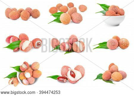 Collection Of Litchi Isolated On A White Background With Clipping Path