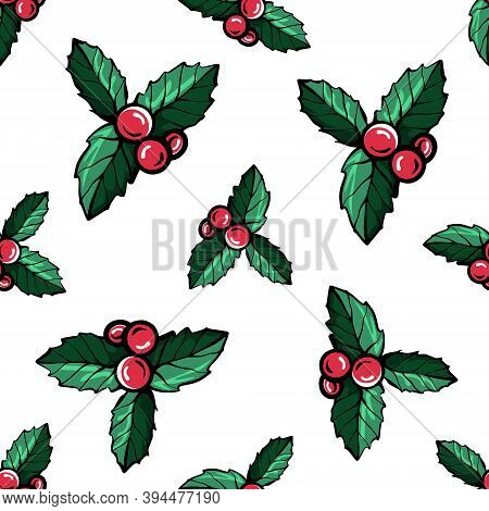 Christmas Red Berries Seamless Pattern.holly Berries Of Holly.christmas Pattern.hand-drawn Vector Il