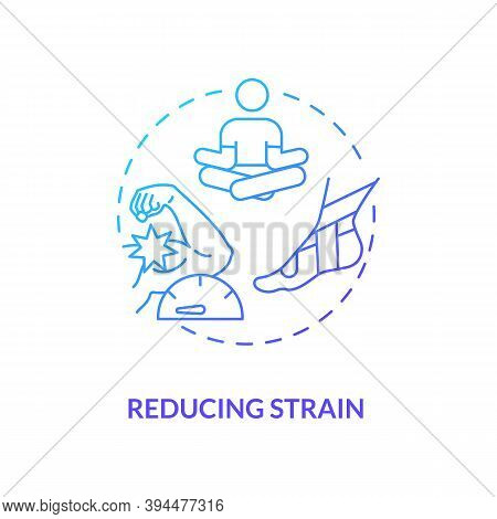 Reducing Strain Blue Gradient Concept Icon. Muscle Pain Relief. Body Crump Treatment. Healthcare, Bo