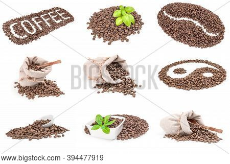Collage Of Brown Coffee Isolated On A White Background Cutout