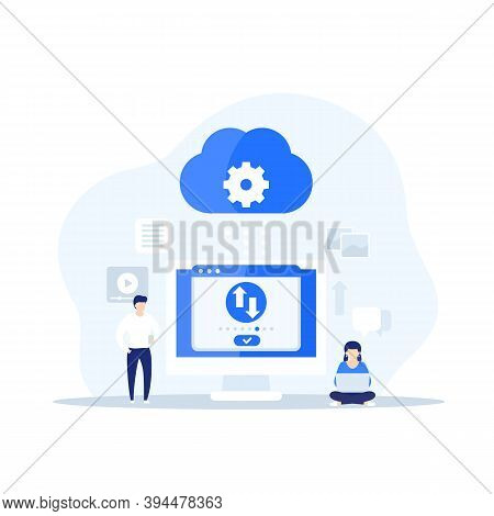 Sync With Cloud And Data Transfer, Vector, Eps 10 File, Easy To Edit
