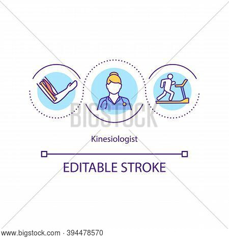 Kinesiologist Concept Icon. Human Movement Specialist Idea Thin Line Illustration. Muscle Testing. M