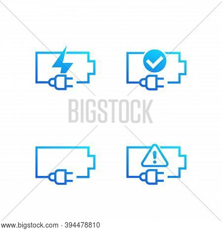 Battery And Electric Plug Icons On White, Eps 10 File, Easy To Edit