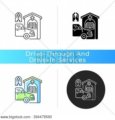 Drive Through Prayer Booth Icon. Car Near Small Church. Chapel Services For Driver. Religious Confes