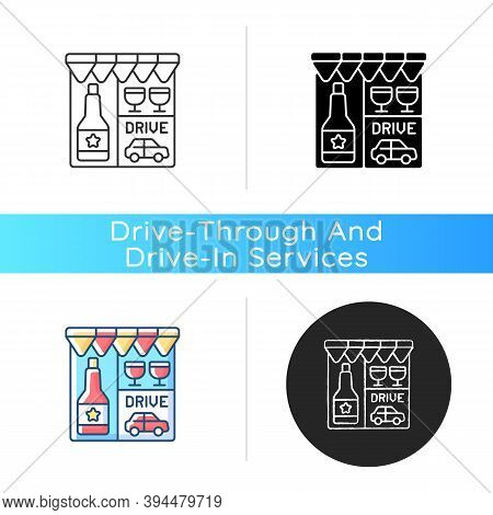 Drive Through Liquor Store Icon. Alcohol And Spirits. Drinks In Shop For Takeout. Booze To Buy For T