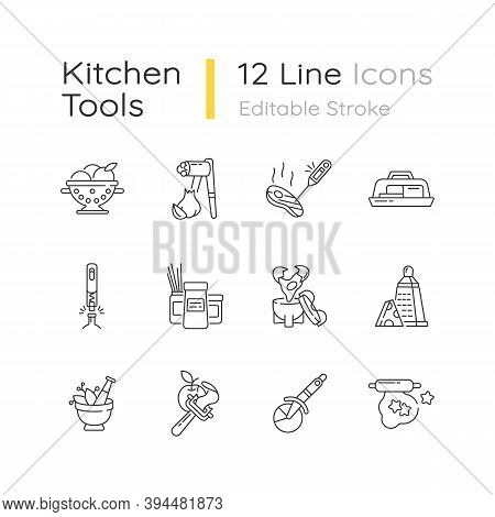 Kitchen Tools Linear Icons Set. Cooking And Serving Meal. Household Utensils. Recipe Ingredients. Cu