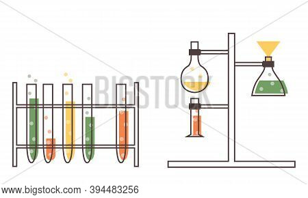 Set With Medical Laboratory Equipment. Holder With Test Tube. Soleted Flat Illustration