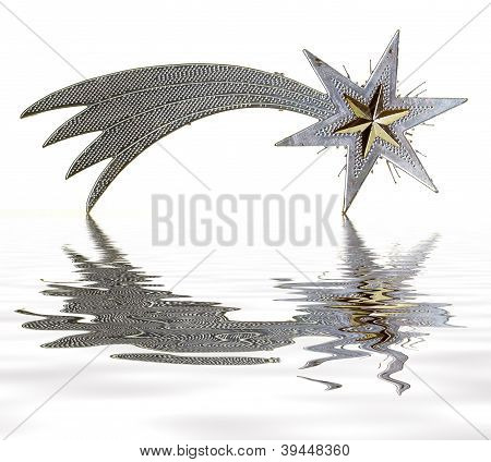 Christmas star reflected on water