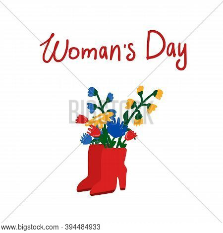 Illustration Of Flowers In Boots. Beautiful Red Boots Clipart With A Bouquet Of Flowers. The Inscrip