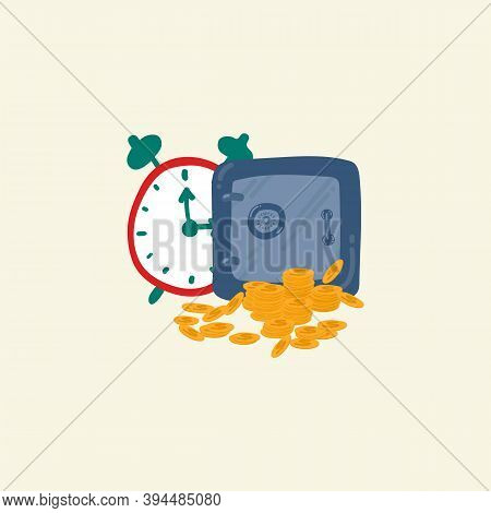 Illustration Of A Safe With Money. Cartoon Picture With Gold Coins, A Watch And A Safe. In The Circl