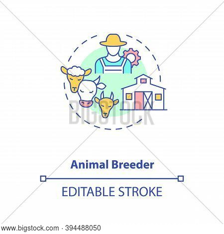 Animal Breeder Concept Icon. Top Agriculture Careers. Responsible For Producing Different Animals Fo