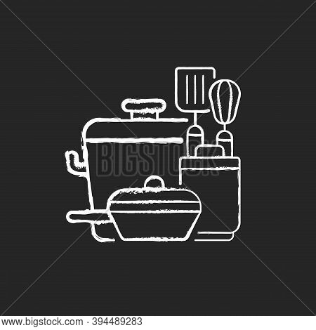 Kitchen Tools Chalk White Icon On Black Background. Cooking Supplies. Food Preparation Containers. C