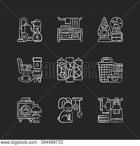 Home Decor Chalk White Icons Set On Black Background. House Appliances. Decorative Figurines. Househ