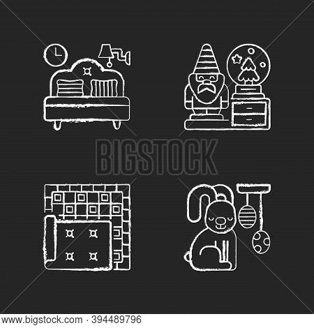 Home Accessories Chalk White Icons Set On Black Background. Bedroom Furniture. Decorative Figurines.