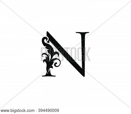 Luxury N Letter Logo. Black Floral N With Classy Leaves Shape Design Perfect For Boutique, Jewelry,