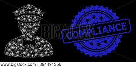 Bright Network Flying Attendant With Light Spots, And Compliance Textured Ribbon Stamp Seal. Blue St