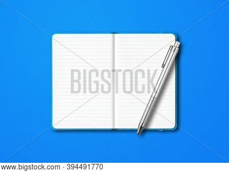 Cyan Open Lined Notebook Mockup With A Pen Isolated On Blue Background