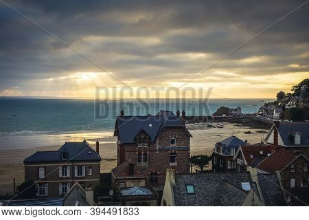 Pleneuf Val Andre City And Beach View At Sunset In Summer, Brittany, France