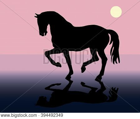 Romantic Drawn Black Silhouette Of A Prancing Horse Isolated On A Colored Background