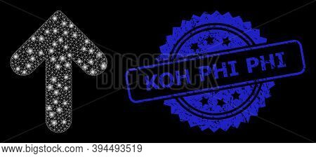 Glossy Network Up Direction With Glowing Spots, And Koh Phi Dirty Ribbon Stamp Seal. Blue Stamp Seal