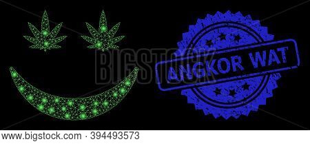 Bright Network Cannabis Smile With Light Spots, And Angkor Wat Dirty Ribbon Stamp Seal. Blue Seal Ha