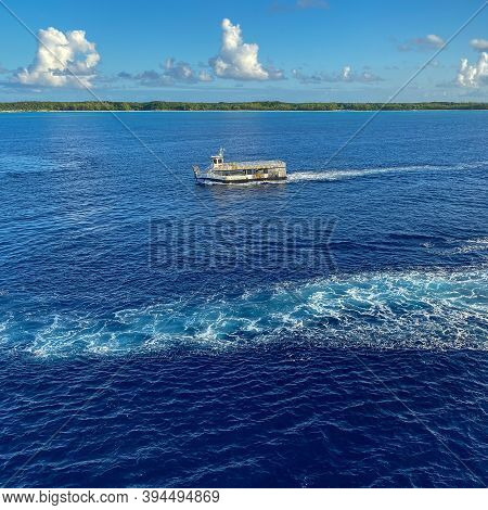 Half Moon Cay, Bahamas - October 31, 2019: A Tender Ready To Pick Up Passengers Off The Holland Amer