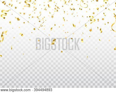 Luxury Gold Christmas Confetti Border. Magic Golden Flying Confetti And Star On Transparent Backgrou