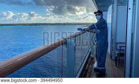 Half Moon Cay, Bahamas - October 31, 2019: The Holland America Line Zuiderdam Cruise Ship Maintenanc