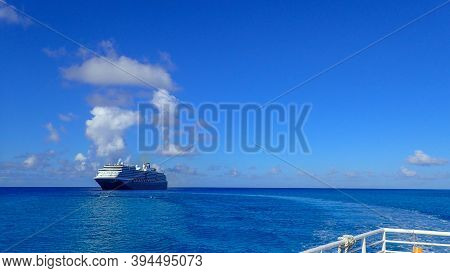 The Holland America Line Zuiderdam Cruise Ship Anchored Off The Private Island Of Half Moon Cay In T