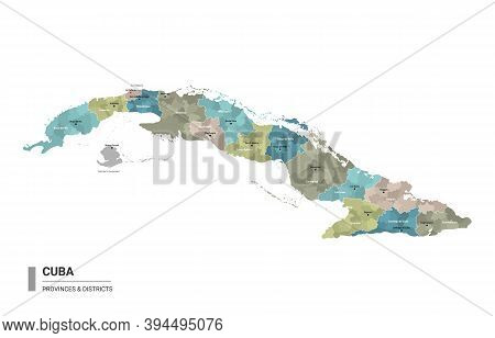 Cuba Higt Detailed Map With Subdivisions. Administrative Map Of Cuba With Districts And Cities Name,