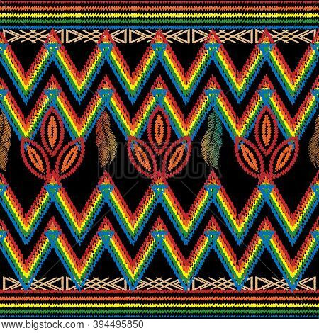 Zigzag Embroidery Tribal Vector Seamless Pattern. Chevron Colorful Abstract Geometric Background. Ta