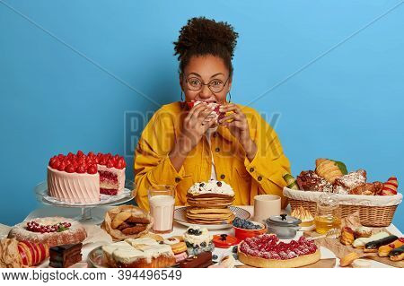 Funny Glutton Woman Bites Cakes With Big Appetite, Cant Stop Eating Sweet Desserts, Being In Mood Fo