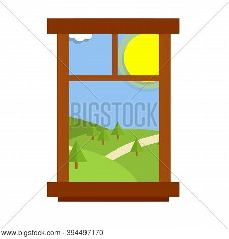 Window Overlooking The Summer Landscape With Green Hill