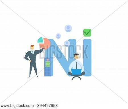 Ni, Net Income. Concept With Keywords, People And Icons. Flat Vector Illustration. Isolated On White