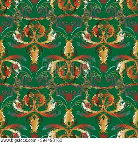 Embroidery Baroque Vector Seamless Pattern. Green Floral Background. Tapestry Colorful Wallpaper. Gr