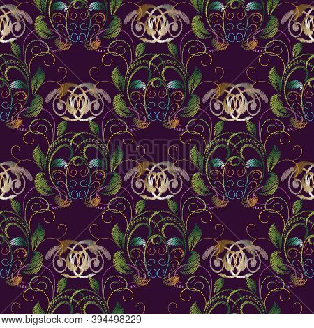Embroidery Baroque Vector Seamless Pattern. Violet Floral Background. Tapestry Colorful Wallpaper. G