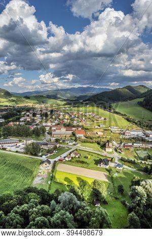 Oravsky Podzamok Village From Orava Castle, Slovak Republic. Rural Country. Travel Destination.