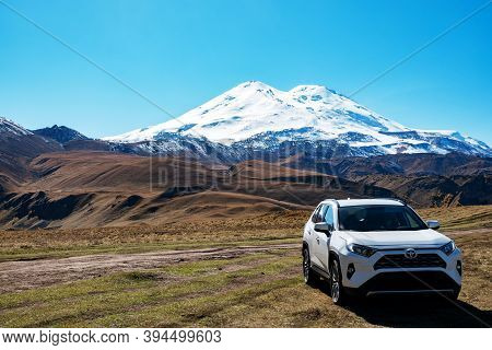 Russia, Elbrus - October , 2020. Toyota Rav4 Four Wheel Drive Suv Being Used On Elbrus Unpaved Roads
