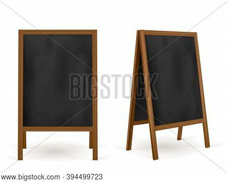 Pavement Sign, Street Chalk Board Cafe Menu, Advertisement Outdoor Stand. Information And Promotion