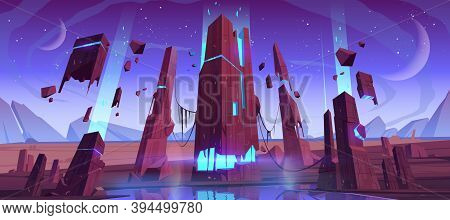 Alien Planet Surface, Futuristic Landscape, Space Background With Glowing And Flying Rocks, Two Moon
