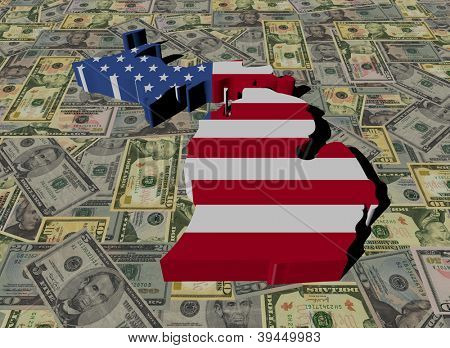 Michigan Map flag on American dollars illustration
