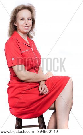 Cheerful 40 Years Old Woman In Red Dress