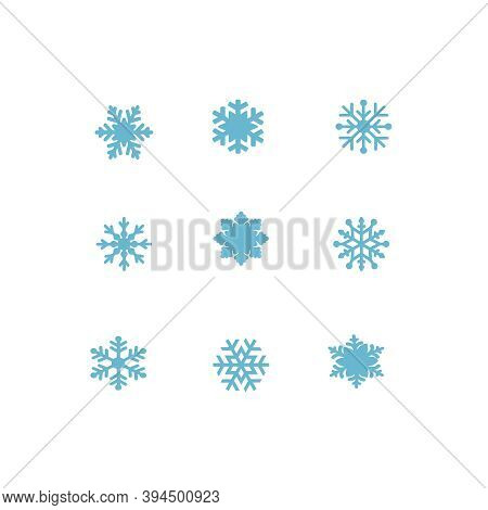 Vector Blue Snowflakes Icon Set On White. Symbol Of Snow, Holiday, Cold Weather, Frost. Winter Desig