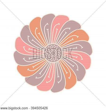 Vector Peony Flower Design Element In Line And Color Style. Delicate Pink Petals. Dense Flower On Wh