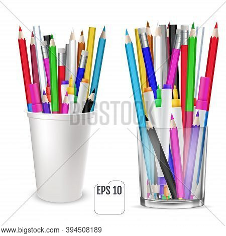 Colored Pencils And Felt-tip Pencils In A Glass For Office. A Set Of Colored Pencils, Stands Upright