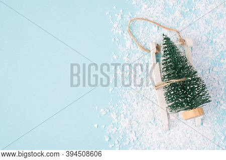 Christmas Is Coming Concept. Top Above Overhead View Close Up Photo Of Miniature Christmas Tree On L