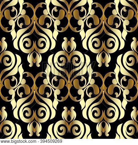 Damask Vector Seamless Pattern. Black Gold Floral Background. Baroque Wallpaper. Surface Flowers, Br