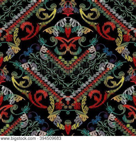 Baroque Striped Floral Embroidery Seamless Pattern. Vector Grunge Texture. Colorful Tapestry Vintage